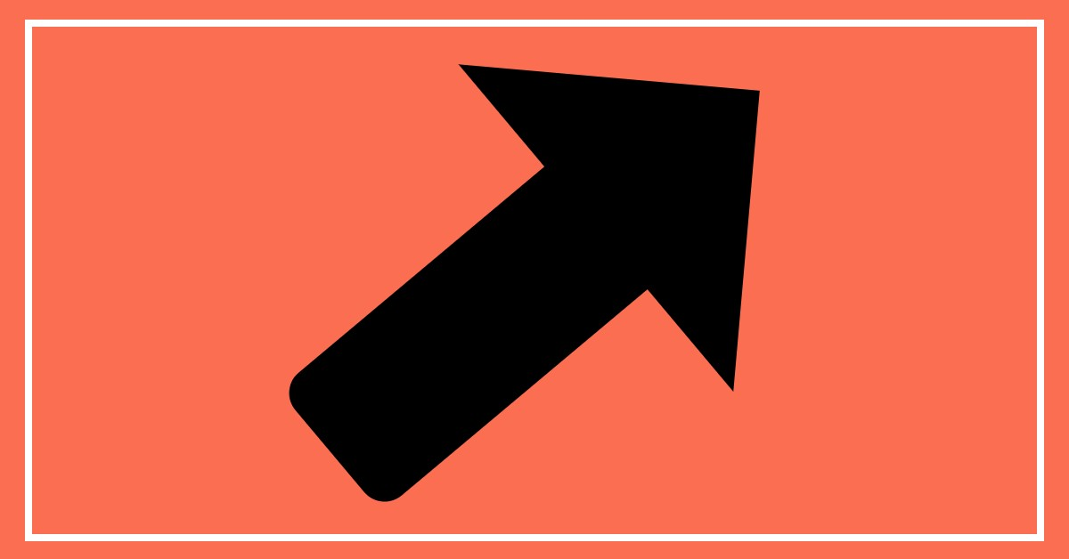 Picture of an arrow pointing up and to the right. The arrow is black on an orange background