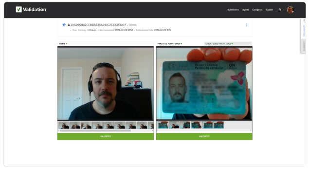 Picture of a selfie next to a government-issued ID on Validation.com