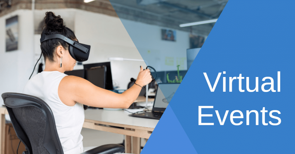 Picture of woman with virtual reality headset sitting at a desk