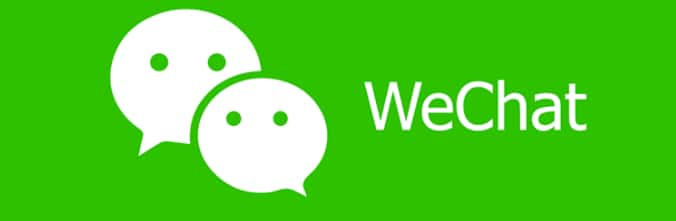 wechat logo shows two text clouds with eyes