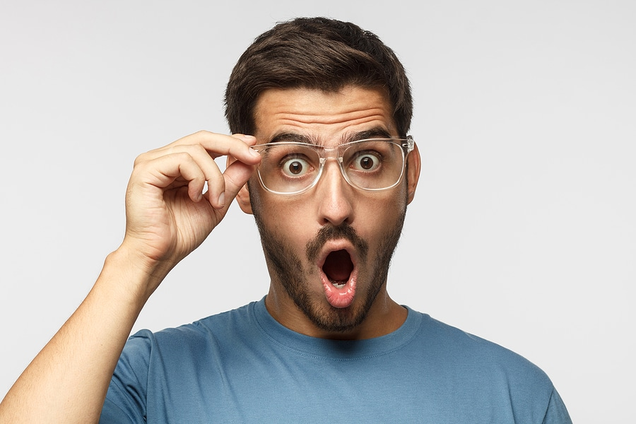 Picture of man with glasses surprised face