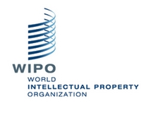 Logo for World Intellectual Property Organization, or WIPO, showing the words plus 7 swooping lines