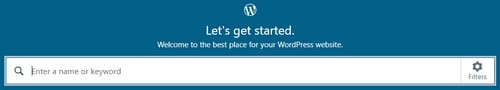 Picture of domain name search box at WordPress.com