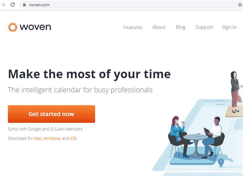 Screenshot of homepage for Woven, which uses the domain Woven.com
