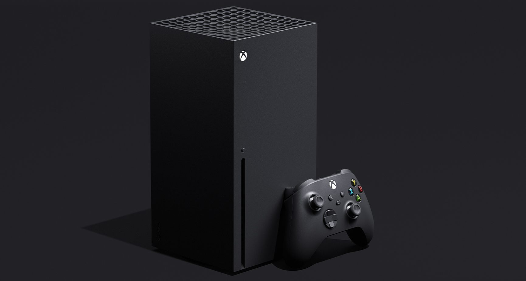 Picture of Xbox Series X, a tall black box shape and a game controller