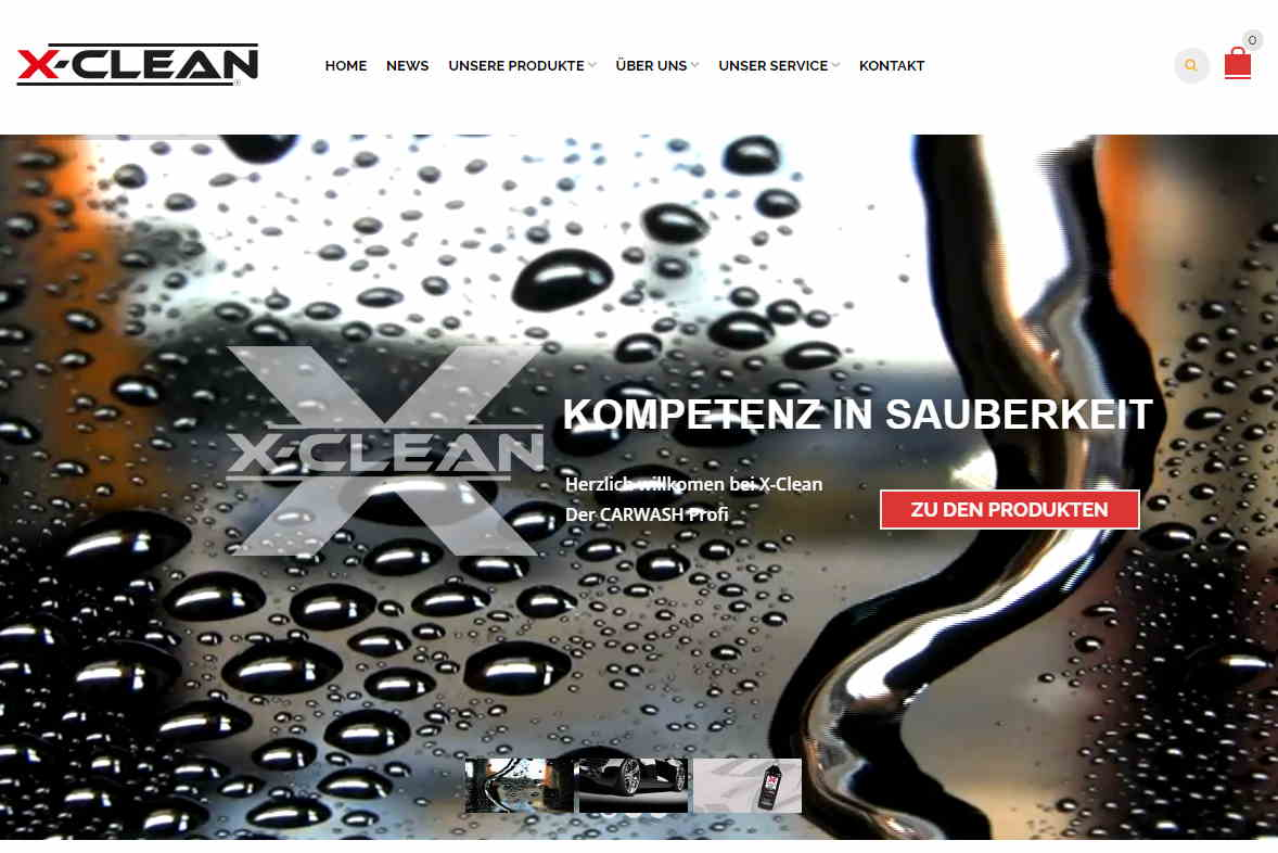 Website screenshot of XClean, a car wash products company