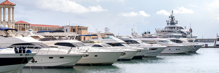 Picture of yachts and speed boats in a harbor