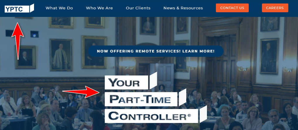 A screenshot of YPTC.com showing the company's name Your Part-Time Controller and initialism YPTC
